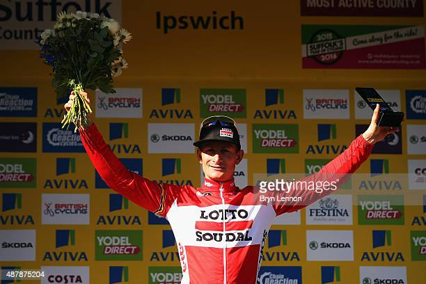 Andre Greipel of Germany and LottoSoudal celebrates winning stage seven of the 2015 Tour of Britain from Fakenham Racecourse to Ipswich on September...