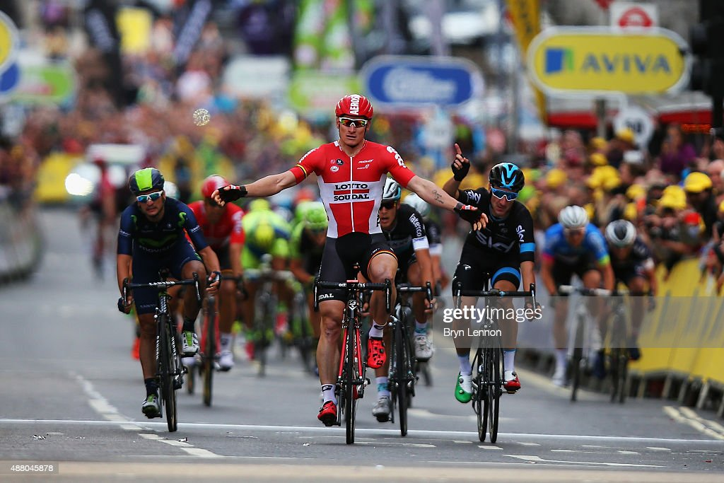Andre Greipel of Germany and Lotto-Soudal claims victory on the finish line of stage eight of the Tour of Britain, an 86.8km stage around central London, on September 13, 2015 in London, England. (Photo by Bryn Lennon/Getty Images) Greipel was later relegated for irregular riding and the stage vicory was given to <a gi-track='captionPersonalityLinkClicked' href=/galleries/search?phrase=Elia+Viviani&family=editorial&specificpeople=5708574 ng-click='$event.stopPropagation()'>Elia Viviani</a> (r) of Italy and Team SKY.