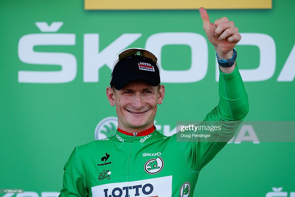 Andre Greipel of Germany and Lotto-Soudal is awarded the green jersey on the podium after stage two of the 2015 Tour de France, a 166km stage between Utrecht and Zelande, on July 5, 2015 in Zelande, Netherlands.