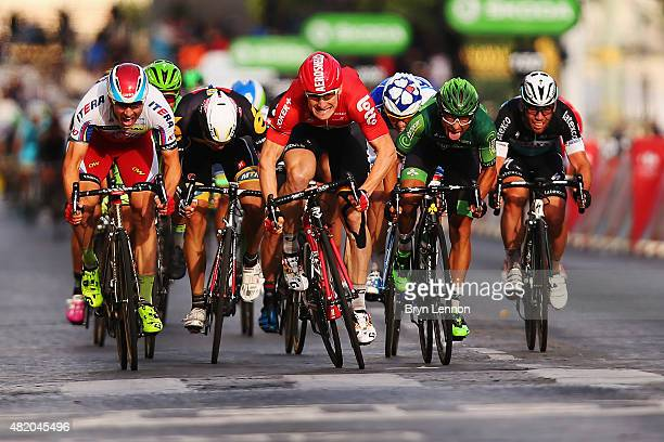 Andre Greipel of Germany and LottoSoudal leads the bunch sprint to the finish line to win the twenty first stage of the 2015 Tour de France a 1095 km...