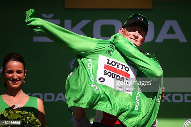 Andre Greipel of Germany and LottoSoudalretains the green jersey following stage seven of the 2015 Tour de France a 1905km stage between Livarot and...