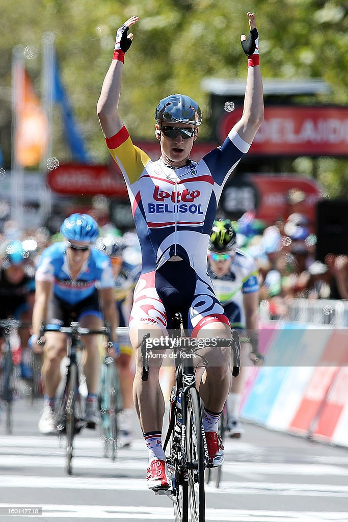 <a gi-track='captionPersonalityLinkClicked' href=/galleries/search?phrase=Andre+Greipel&family=editorial&specificpeople=874849 ng-click='$event.stopPropagation()'>Andre Greipel</a> of Germany and the Lotto Belisol Team celebrates after winning stage six of the Tour Down Under on January 27, 2013 in Adelaide, Australia.