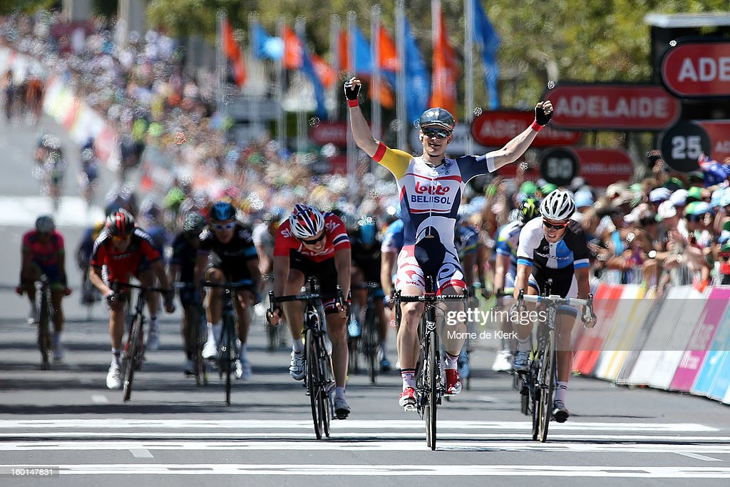 Andre Greipel (C) of Germany and the Lotto Belisol Team celebrates after winning stage six of the Tour Down Under on January 27, 2013 in Adelaide, Australia.