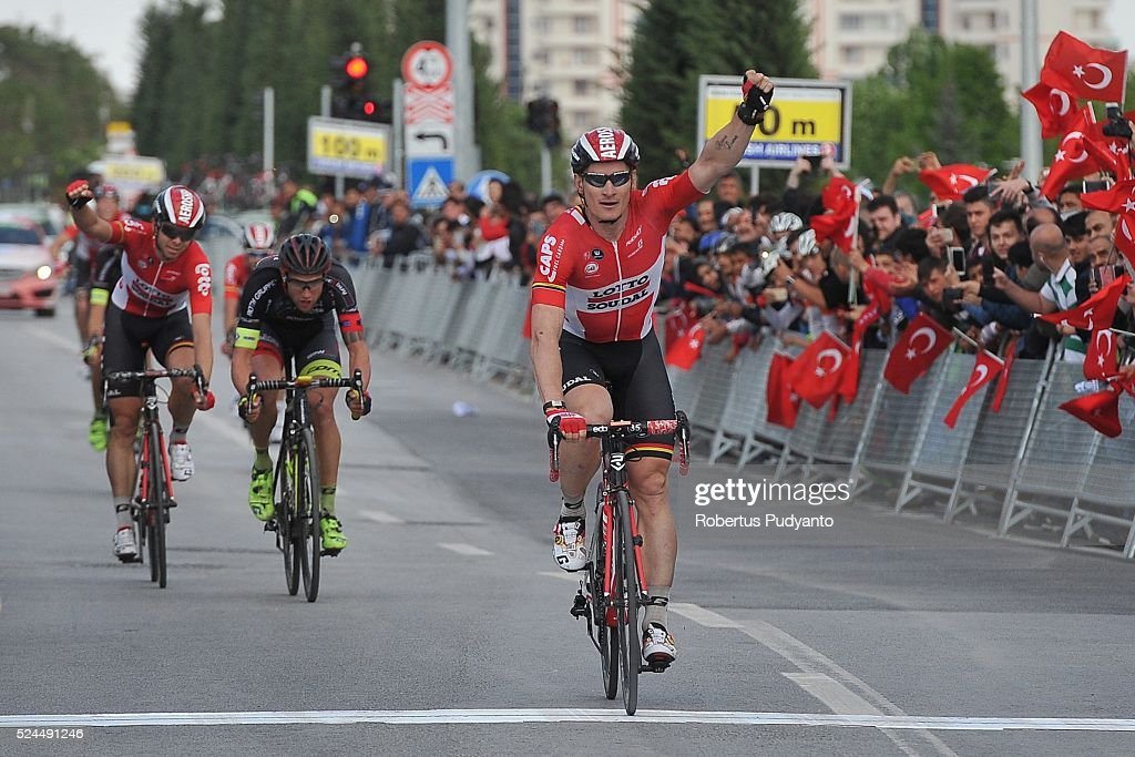 <a gi-track='captionPersonalityLinkClicked' href=/galleries/search?phrase=Andre+Greipel&family=editorial&specificpeople=874849 ng-click='$event.stopPropagation()'>Andre Greipel</a> of Lotto Soudal Belgium reacts after winning Stage 3 of the 2016 Tour of Turkey, Aksaray to Konya (159 km) on April 26, 2016 in Aksaray, Turkey.