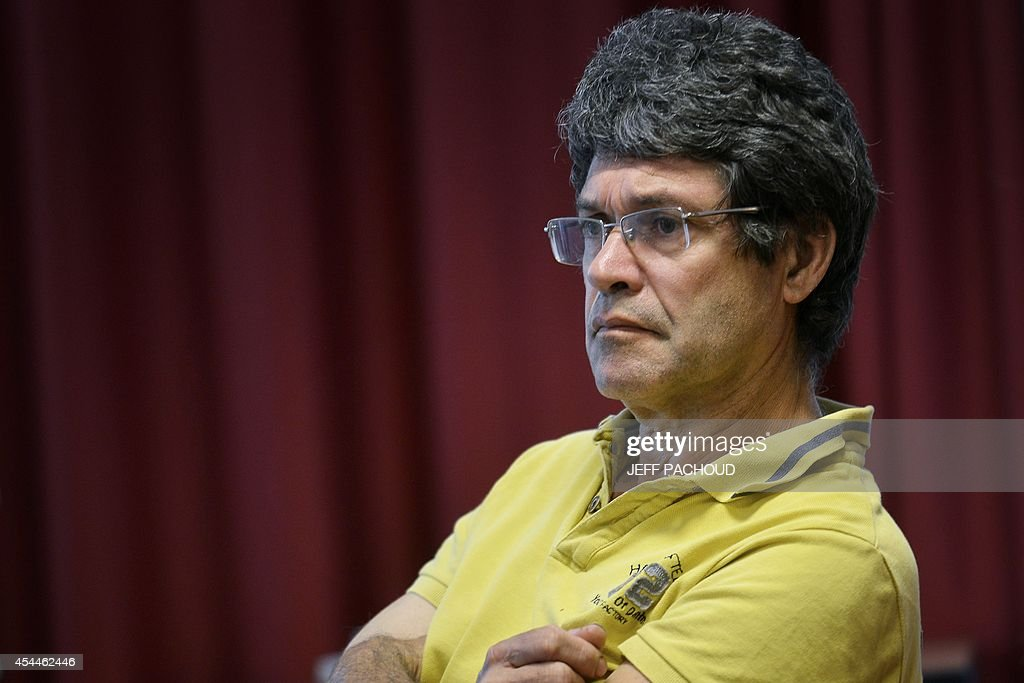 Andre Gros-Coissy, the father of Aurore Gros-Coissy, a woman held in dentention in Mauricius for drug traffic, on September 1, 2014, in Lyon, during press conference held on the eve of the start of her daughter's trial. Aurore Seline Gros-Coissy was arrested on August 2011 after Mauritian police found in her luggage 1680 pills of Subutex, a substitute for heroin considered a hard drug there. She claims to have carried the pills unknowingly, trapped by her ex-friend.