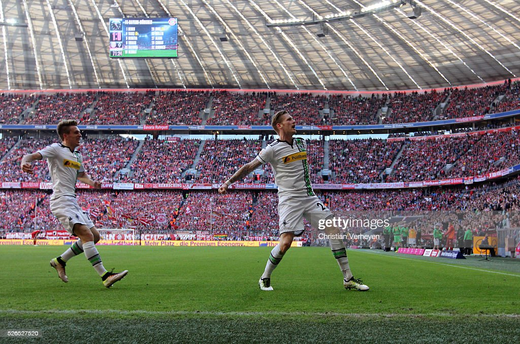 Andre Hahn of Borussia Moenchengladbach celebrate after he scores his teams first goal during the Bundesliga match between FC Bayern Muenchen and Borussia Moenchengladbach at Allianz Arena on April 30, 2016 in Moenchengladbach, Germany