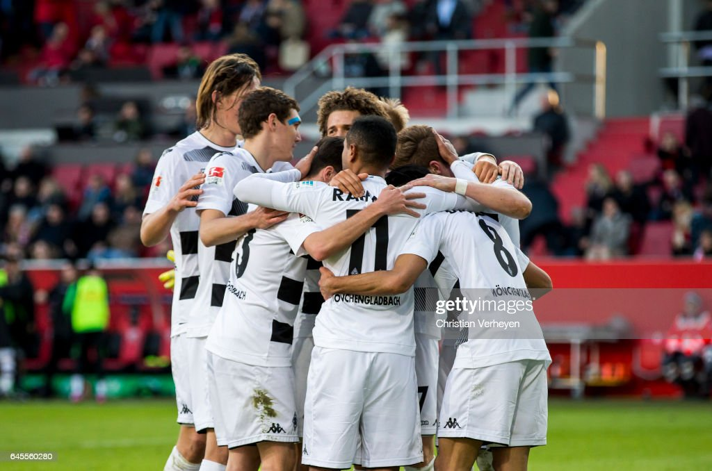 Andre Hahn of Borussia Moenchengladbach celebrate with his team mates after he scores his teams second goal during the Bundesliga match between FC Ingolstadt 04 and Borussia Moenchengladbach at Audi Sportpark on February 26, 2017 in Ingolstadt, Germany.