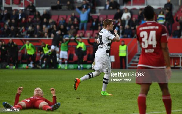 Andre Hahn of Borussia Moenchengladbach celebrates his side's second goal during the Bundesliga match between FC Ingolstadt 04 and Borussia...