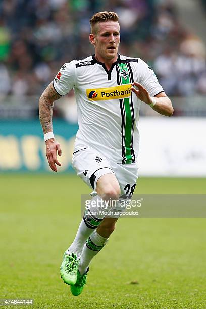 Andre Hahn of Borussia Moenchengladbach in action during the Bundesliga match between Borussia Moenchengladbach and FC Augsburg held at Borussia Park...