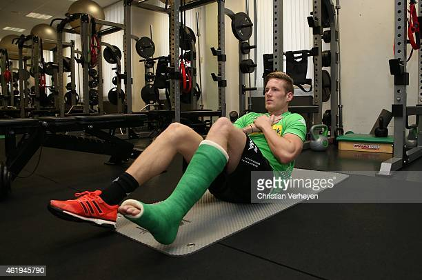 Andre Hahn of Borussia Moenchengladbach in the fitness center during a training session on January 20 2015 in Moenchengladbach Germany