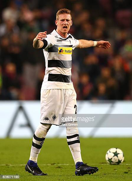Andre Hahn of Borussia Moenchengladbach reacts during the UEFA Champions League Group C match between FC Barcelona and VfL Borussia Moenchengladbach...