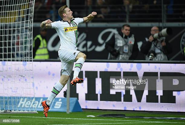 Andre Hahn of Gladbach celebrates s after scoring his team's fourth goal during the Bundesliga match between Eintracht Frankfurt and Borussia...