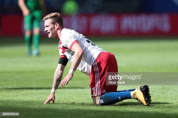 Andre Hahn of Hamburg appears frustrated during the Bundesliga match between Hamburger SV and FC Augsburg at Volksparkstadion on August 19 2017 in...