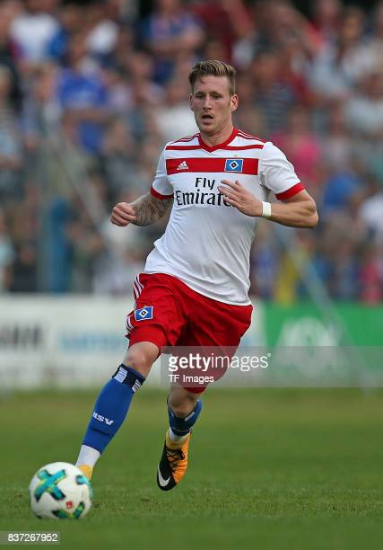 Andre Hahn of Hamburg controls the ball during the preseason friendly match between Holstein Kiel and Hamburger SV at GruemmiArena on July 19 2017 in...
