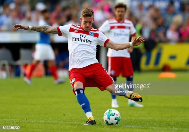 Andre Hahn of Hamburg runs with the ball during the preseason friendly match between Holstein Kiel and Hamburger SV at GruemmiArena on July 19 2017...