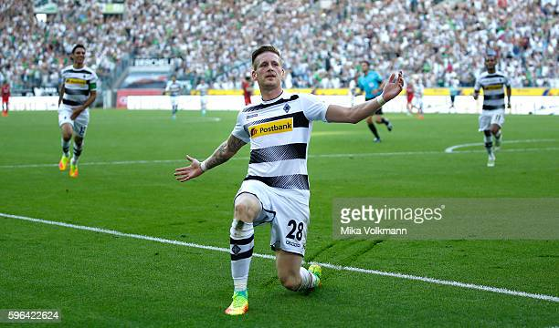 Andre Hahn of Moenchengladbach celebrates scoring the 10 goal during the Bundesliga match between Borussia Moenchengladbach and Bayer 04 Leverkusen...