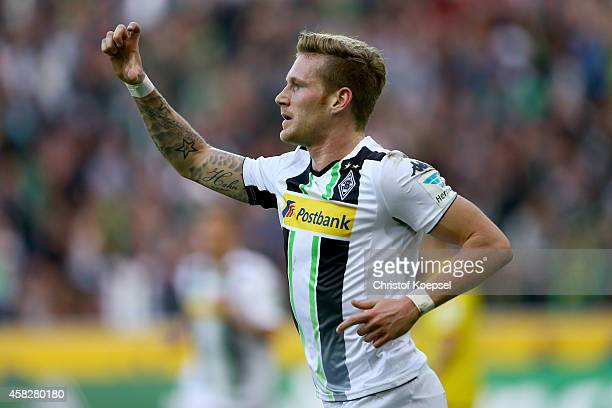Andre Hahn of Moenchengladbach celebrates the first goal during the Bundesliga match between Borussia Moenchengladbach and 1899 Hoffenheim at...