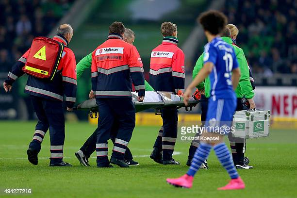 Andre Hahn of Moenchengladbach is carried out of the pitch after an injury during the Bundesliga match between Borussia Moenchengladbach and FC...