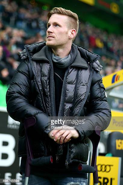 Andre Hahn of Moenchengladbach is seen prior to the Bundesliga match between Borussia Moenchengladbach and Hannover 96 at BorussiaPark on November 21...