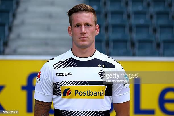Andre Hahn of Moenchengladbach poses during the team presentation of Borussia Moenchengladbach at BorussiaPark on August 1 2016 in Moenchengladbach...
