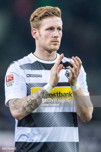 Andre Hahn of Moenchengladbach reacts after loosing the Bundesliga match between Borussia Moenchengladbach and Bayern Muenchen at BorussiaPark on...