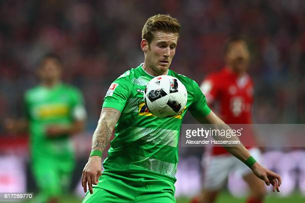 Andre Hahn of Moenchengladbach runs with the ball during the Bundesliga match between Bayern Muenchen and Borussia Moenchengladbach at Allianz Arena...
