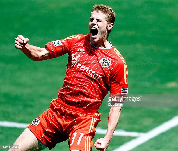 Andre Hainault of the Houston Dynamo celebrates his score in the second half against the Los Angeles Galaxy at BBVA Compass Stadium on May 26 2012 in...