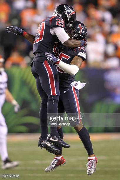 Andre Hal of the Houston Texans celebrates with Benardrick McKinney against the Cincinnati Bengals during the second half at Paul Brown Stadium on...