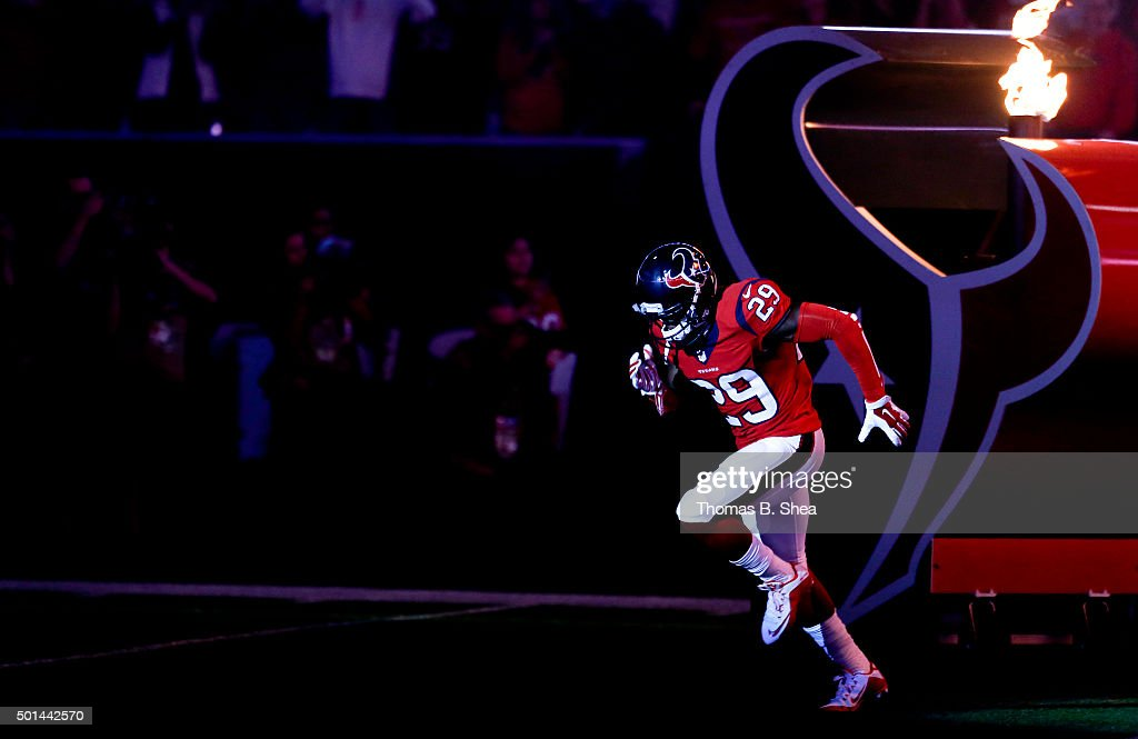 Andre Hal #29 of the Houston Texans is introduced before playing against the New England Patriots on December 13, 2015 at NRG Stadium in Houston, Texas.