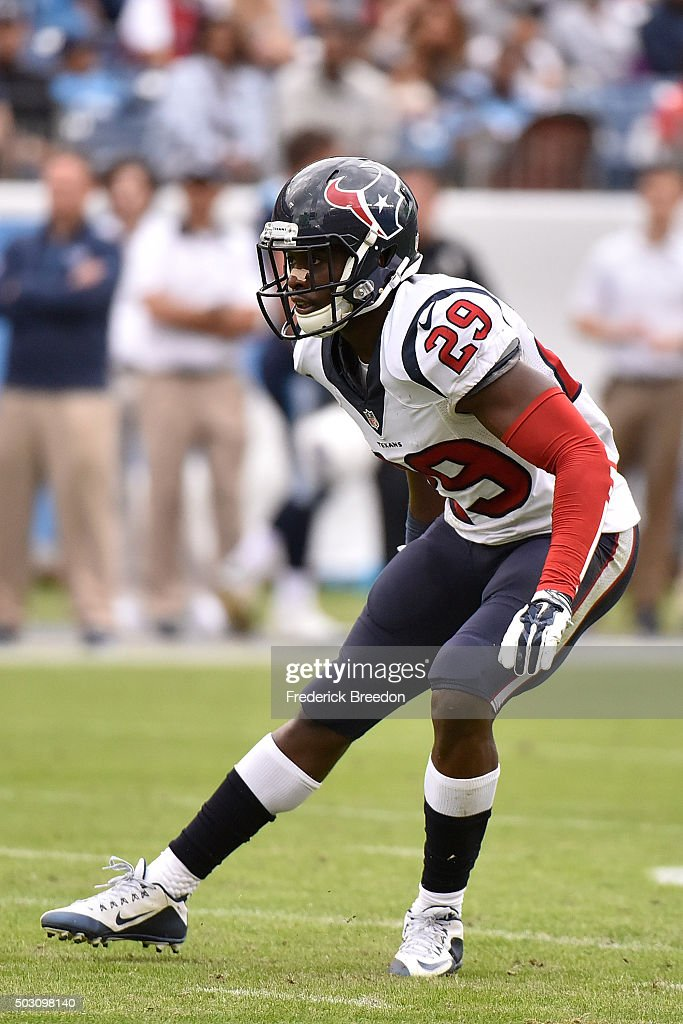 <a gi-track='captionPersonalityLinkClicked' href=/galleries/search?phrase=Andre+Hal&family=editorial&specificpeople=8281332 ng-click='$event.stopPropagation()'>Andre Hal</a> #29 of the Houston Texans plays against the Tennessee Titans at Nissan Stadium on December 27, 2015 in Nashville, Tennessee.