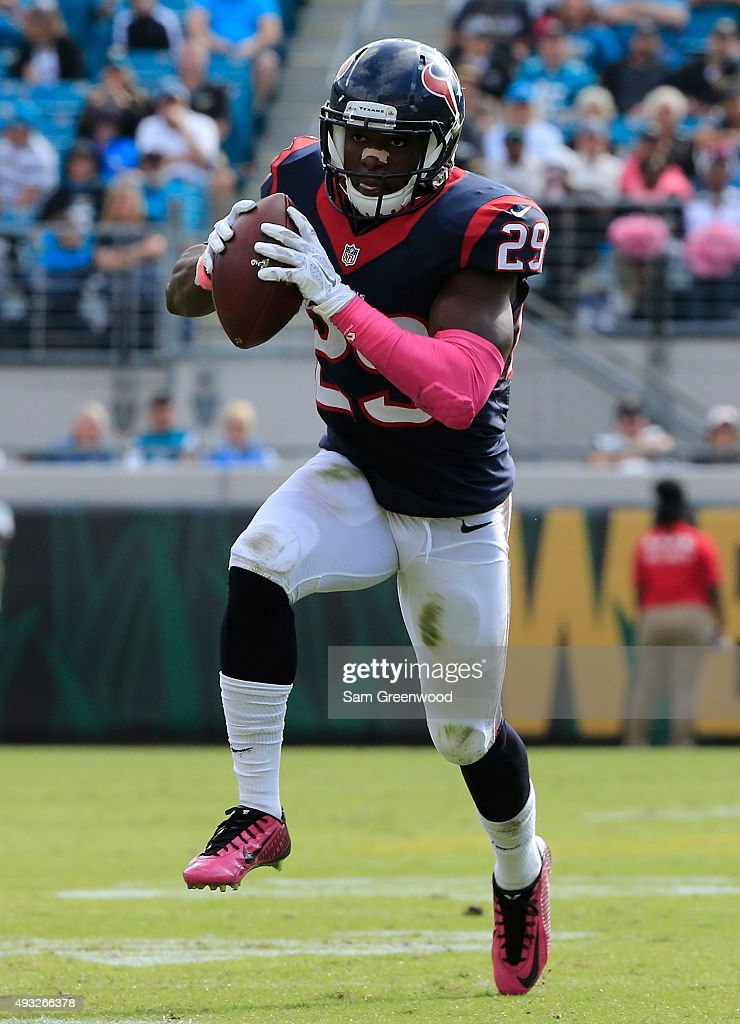 <a gi-track='captionPersonalityLinkClicked' href=/galleries/search?phrase=Andre+Hal&family=editorial&specificpeople=8281332 ng-click='$event.stopPropagation()'>Andre Hal</a> #29 of the Houston Texans takes an interception across the goal line for a touchdown during the game against the Jacksonville Jaguars at EverBank Field on October 18, 2015 in Jacksonville, Florida.