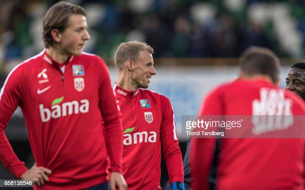 Andre Hansen Sander Berge of Norway during the FIFA 2018 World Cup Qualifier between Northern Ireland and Norway at Windsor Park on March 26 2017 in...