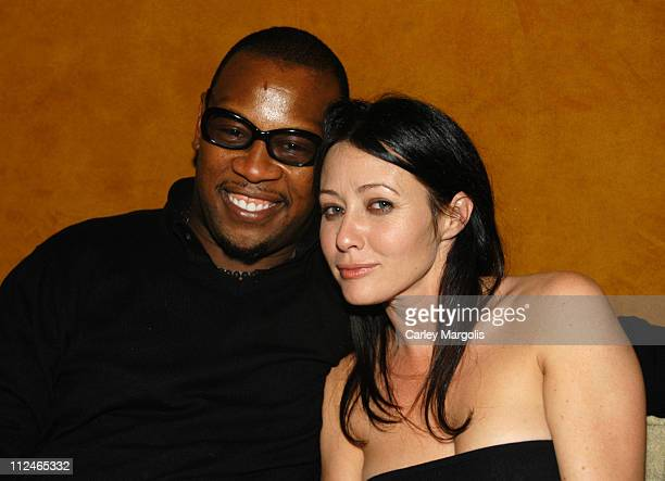 Andre Harrell and Shannen Doherty during Naomi Campbell Cohosts Sky Wednesdays at The 40/40 Club February 9 2005 at The 40/40 Club in New York City...