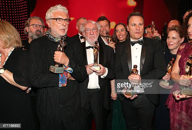 Andre Heller Dieter Hallervorden designer Guido Maria Kretschmer with award during the 26th ROMY Award 2015 at Hofburg Vienna on April 25 2015 in...