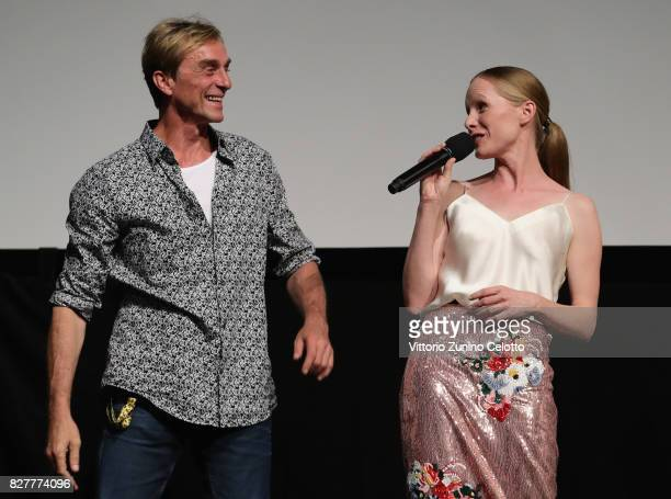 Andre Hennicke and Susanne Wuest attend 'Iceman' premiere during the 70th Locarno Film Festival on August 8 2017 in Locarno Switzerland