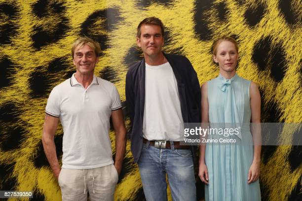 Andre Hennicke Felix Randau Susanne Wuest attend 'Iceman' photocall during the 70th Locarno Film Festival on August 8 2017 in Locarno Switzerland