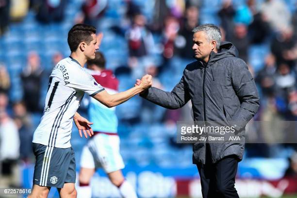 Andre Herrera of Manchester United and Jose Mourinho manager / head coach of Manchester United during the Premier League match between Burnley and...