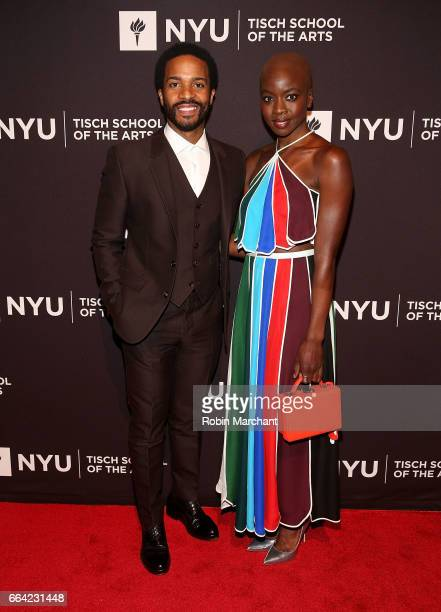 Andre Holland and Danai Gurira attends NYU Tisch School of the Arts' 2017 Gala at Cipriani 42nd Street on April 3 2017 in New York City