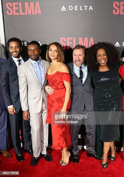 Andre Holland David Oyelowo Carmen Ejogo Tim Roth and Oprah Winfrey attend 'Selma' New York Premiere Inside Arrivals at Ziegfeld Theater on December...