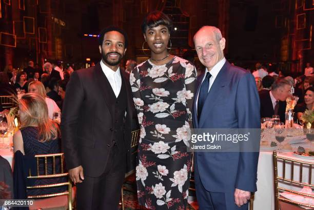Andre Holland Jacarea Garraway and Jonathan Tisch attend the Tisch School Gala 2017 at Cipriani 42nd Street on April 3 2017 in New York City