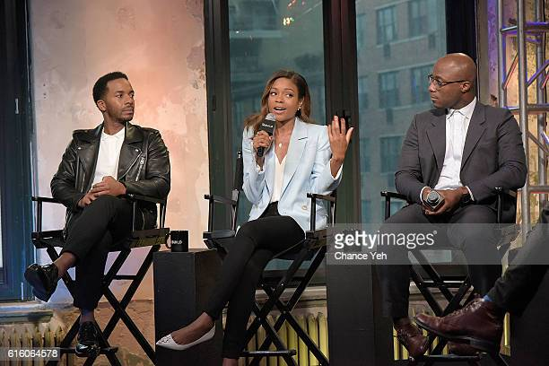 Andre Holland Naomie Harris and Barry Jenkins attend The Build Series to discuss 'Moonlight' at AOL HQ on October 21 2016 in New York City