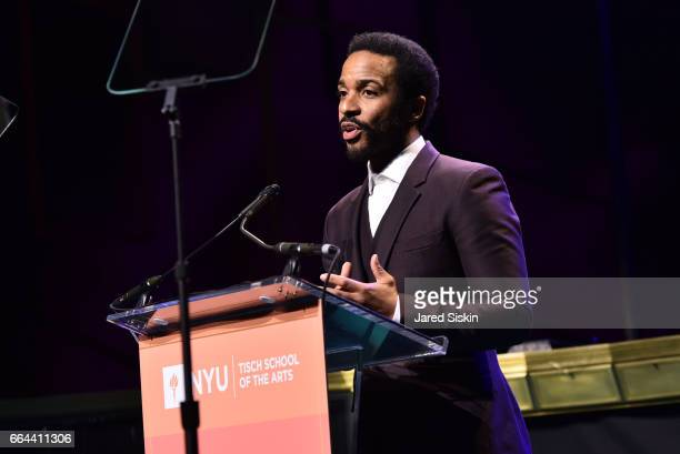 Andre Holland speaks at the Tisch School Gala 2017 at Cipriani 42nd Street on April 3 2017 in New York City