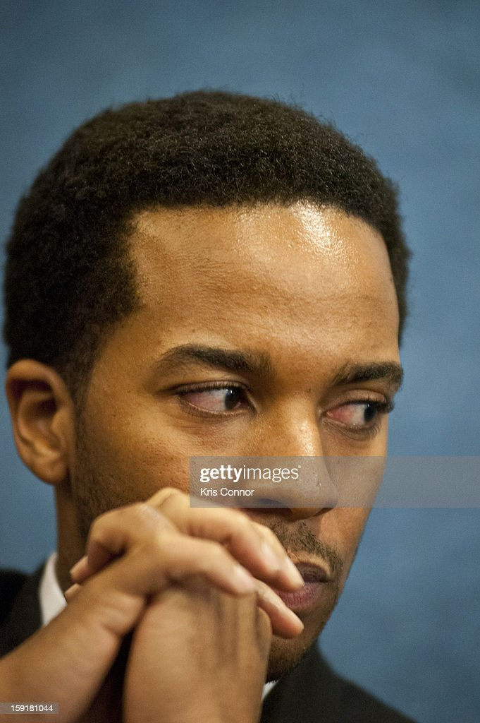 Andre Holland speaks during the National Press Club Presents: In Discussion With The Cast Pf '1600 Penn' at The National Press Club on January 9, 2013 in Washington, DC.