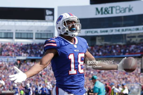 Andre Holmes of the Buffalo Bills celebrates after scoring a touchdown in the third quarter against the New York Jets on September 10 2017 at New Era...