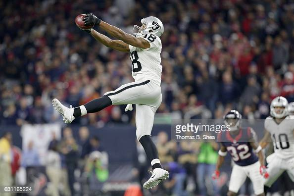 Andre Holmes of the Oakland Raiders makes a reception against the Houston Texans in the AFC Wild Card game at NRG Stadium on January 7 2017 in...