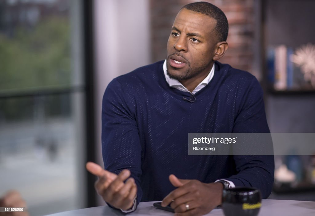Andre Iguodala, a professional basketball player with the National Basketball Association's (NBA) Golden State Warriors, speaks during a Bloomberg Television interview during The Players Technology Summit in San Francisco, California, U.S., on Monday, Aug. 14, 2017. Iguodala discussed bridging the gap between sports and technology. Photographer: David Paul Morris/Bloomberg via Getty Images