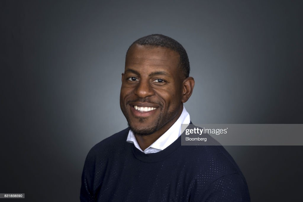 Andre Iguodala, a professional basketball player with the National Basketball Association's (NBA) Golden State Warriors, sits for a photograph following a Bloomberg Television interview during The Players Technology Summit in San Francisco, California, U.S., on Monday, Aug. 14, 2017. Iguodala discussed bridging the gap between sports and technology. Photographer: David Paul Morris/Bloomberg via Getty Images