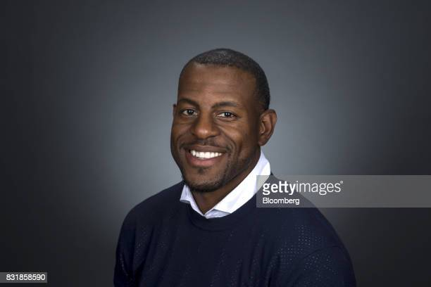 Andre Iguodala a professional basketball player with the National Basketball Association's Golden State Warriors sits for a photograph following a...