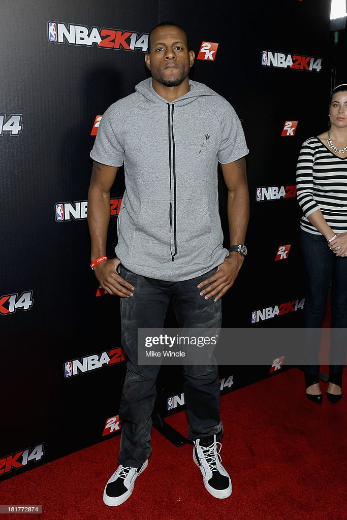 <a gi-track='captionPersonalityLinkClicked' href=/galleries/search?phrase=Andre+Iguodala&family=editorial&specificpeople=201980 ng-click='$event.stopPropagation()'>Andre Iguodala</a> attends the NBA2K14 premiere party at Greystone Manor Supperclub on September 24, 2013 in West Hollywood, California.