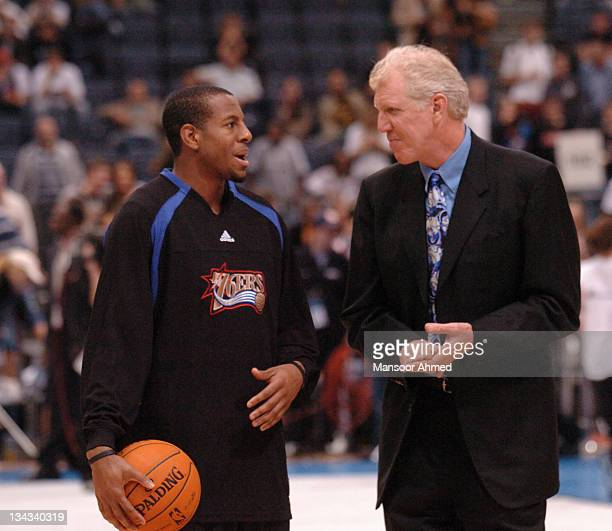 Andre Iguodala of Philadelphia talks to the legendary player and now broadcaster Bill Walton during the NBA Europe Live Tour presented by EA Sports...